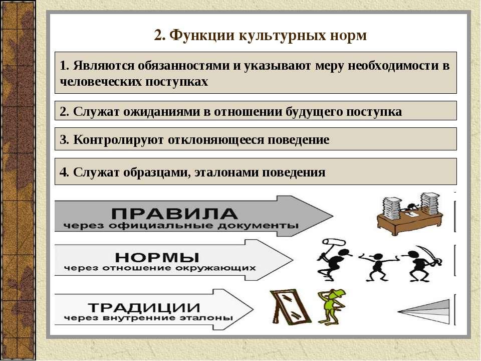 2. Функции культурных норм 1. Являются обязанностями и указывают меру необход...