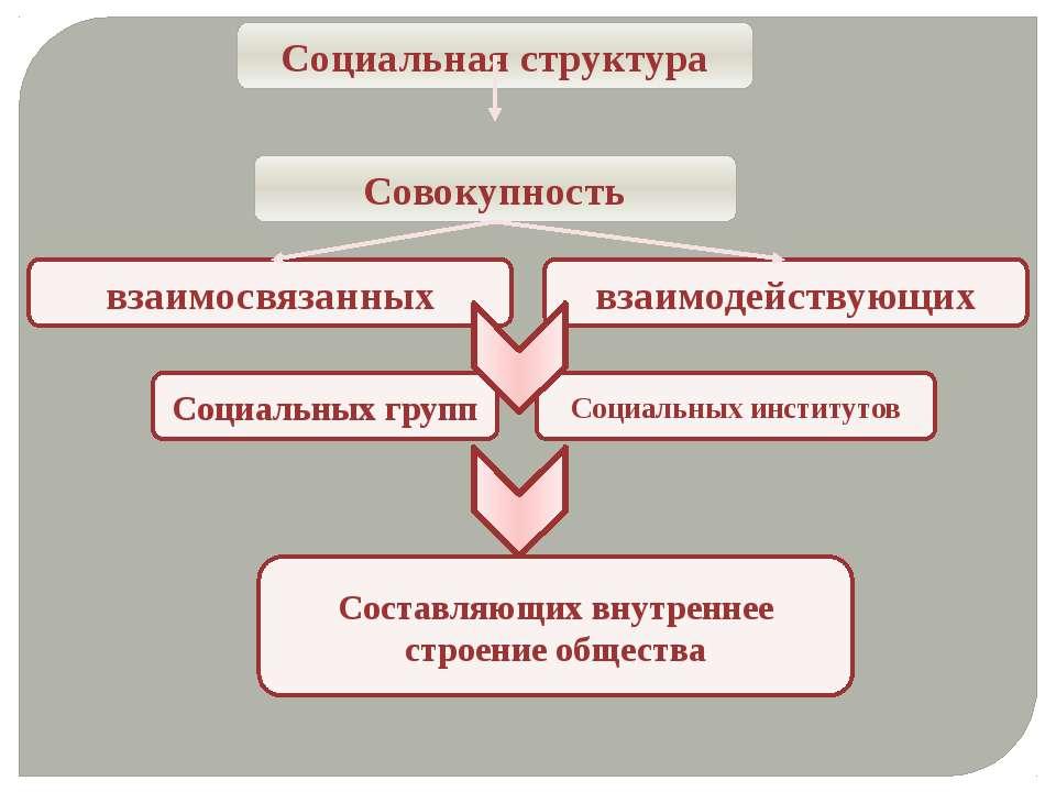 Социальная структура Совокупность взаимосвязанных взаимодействующих Социальны...