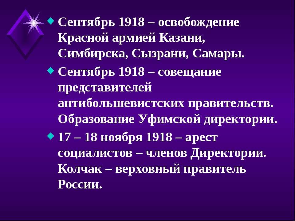 Сентябрь 1918 – освобождение Красной армией Казани, Симбирска, Сызрани, Самар...