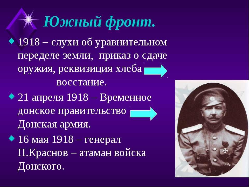 Южный фронт. 1918 – слухи об уравнительном переделе земли, приказ о сдаче ору...