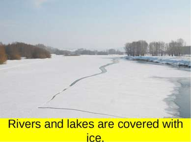 Rivers and lakes are covered with ice.