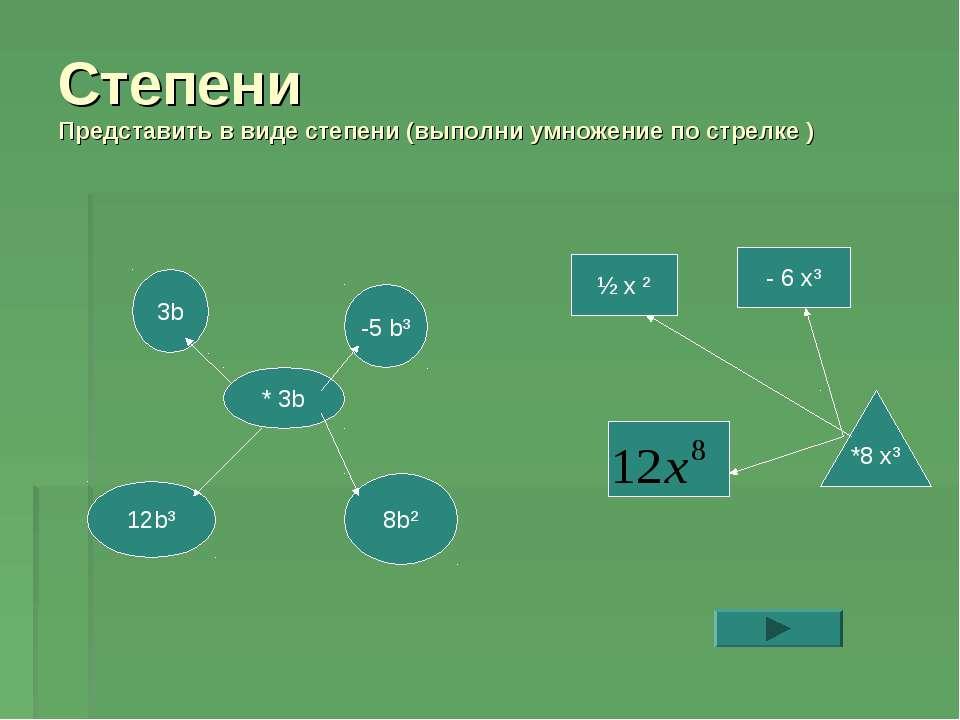 Степени Представить в виде степени (выполни умножение по стрелке ) 3b * 3b -5...