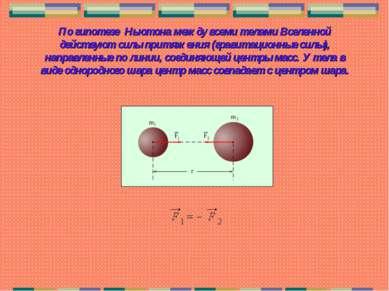 По гипотезе Ньютона между всеми телами Вселенной действуют силы притяжения (г...