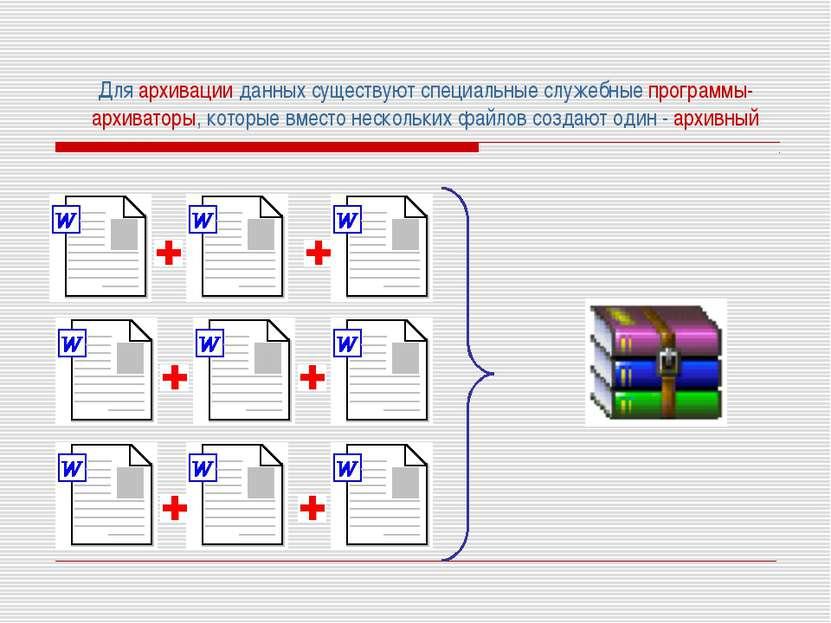 Для архивации данных существуют специальные служебные программы-архиваторы, к...