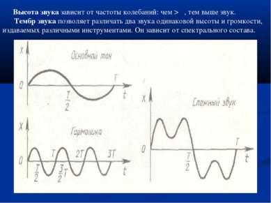 Высота звука зависит от частоты колебаний: чем > ν, тем выше звук. Тембр звук...