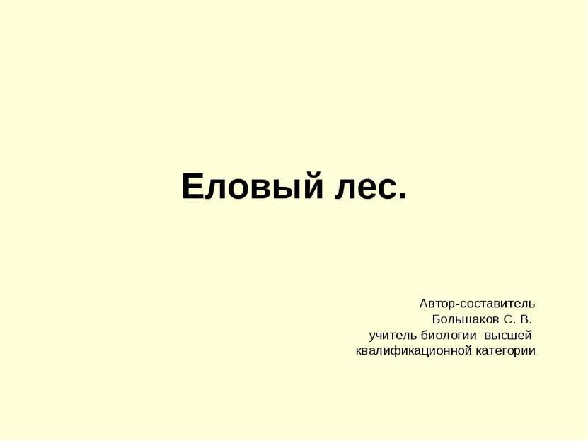 Еловый лес. Автор-составитель Большаков С. В. учитель биологии высшей квалифи...