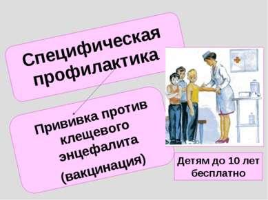 Специфическая профилактика Прививка против клещевого энцефалита (вакцинация) ...