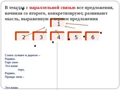 В текстах с параллельной связью все предложения, начиная со второго, конкрети...