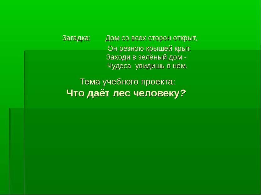 Загадка: Дом со всех сторон открыт, Он резною крышей крыт. Заходи в зелёный д...