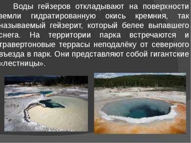 Воды гейзеров откладывают на поверхности земли гидратированную окись кремния,...