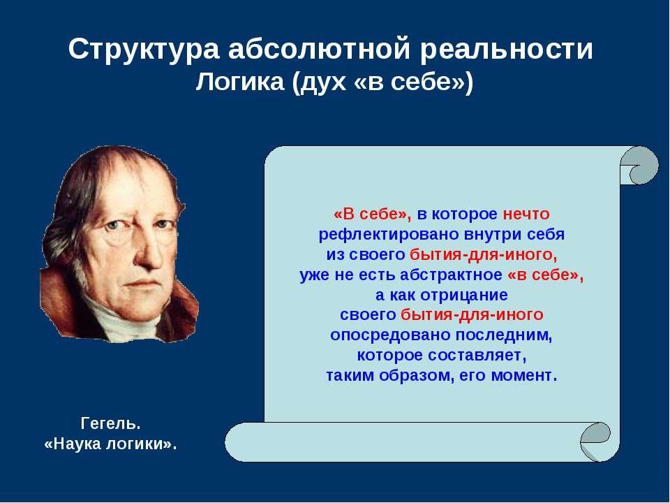 Структура абсолютной реальности Логика (дух «в себе») «В себе», в которое неч...