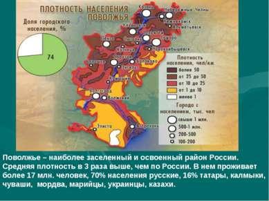 Поволжье – наиболее заселенный и освоенный район России. Средняя плотность в ...