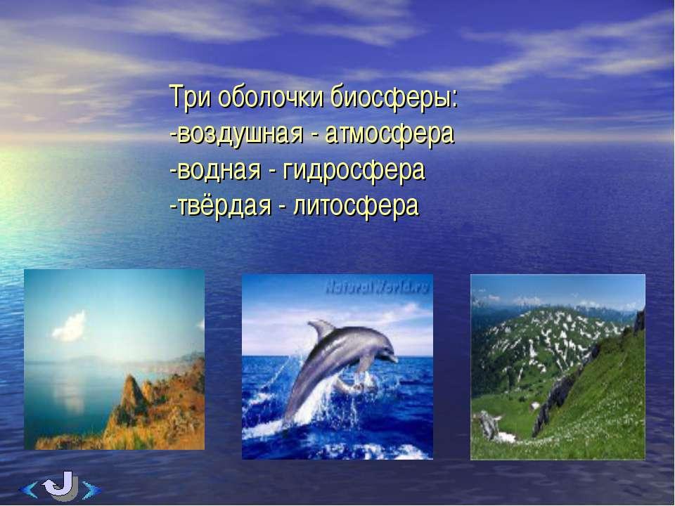 Три оболочки биосферы: -воздушная - атмосфера -водная - гидросфера -твёрдая -...