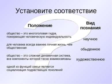Установите соответствие Положение Вид познания общество – это многоголовая ги...