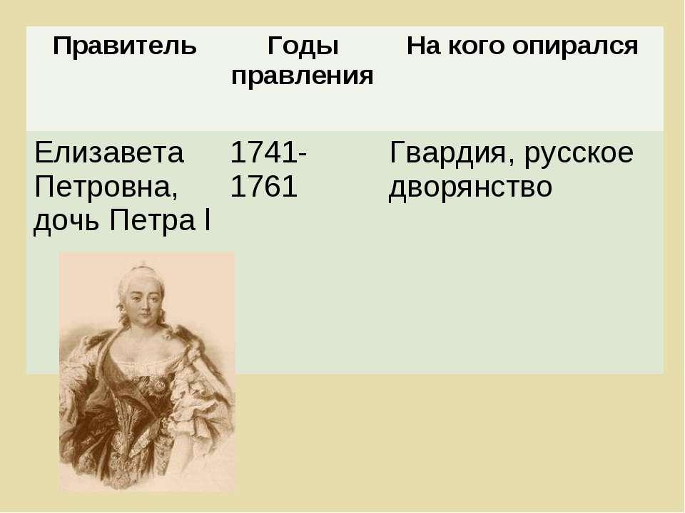 Правитель Годы правления На кого опирался Елизавета Петровна, дочь Петра l 17...