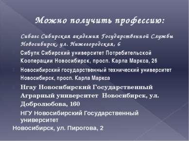 Можно получить профессию: Сибагс Сибирская академия Государственной Службы Но...