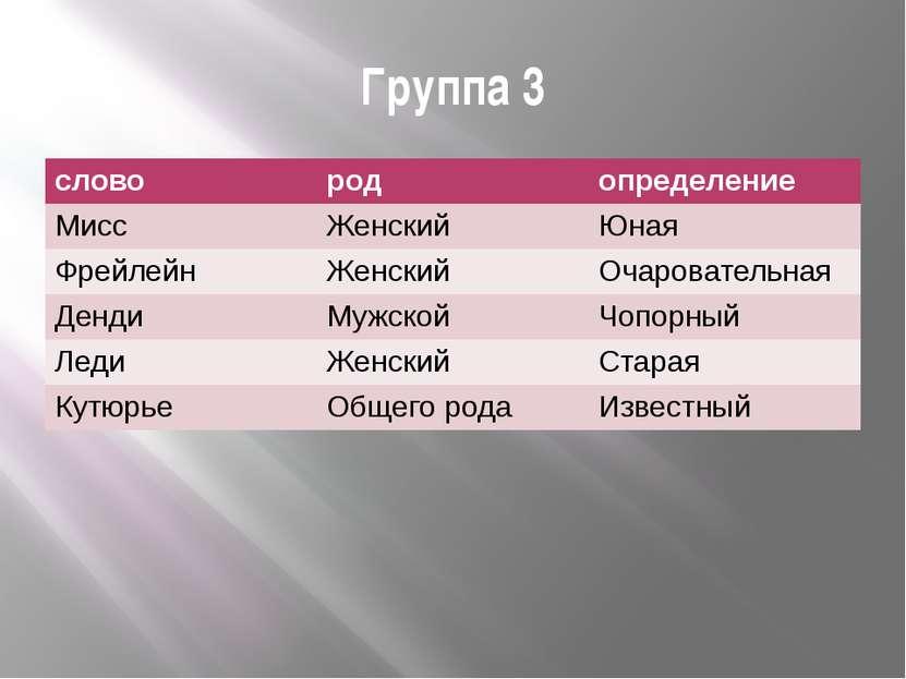 Группа 3 слайд №15 слово род определение Мисс Женский Юная Фрейлейн Женский О...