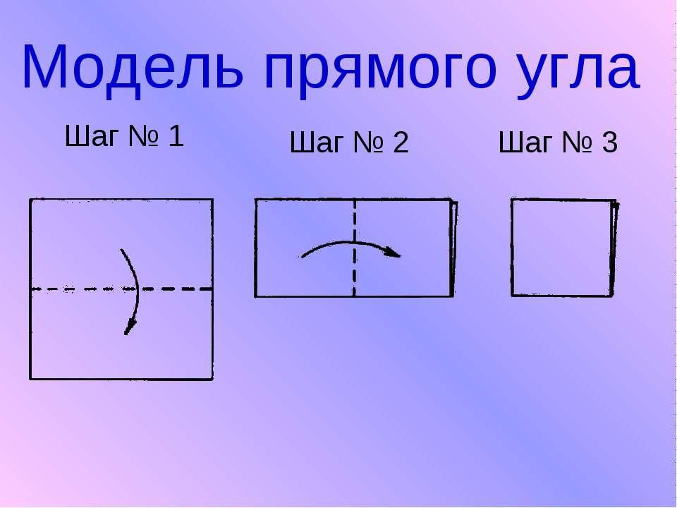 Модель прямого угла Шаг № 1 Шаг № 2 Шаг № 3