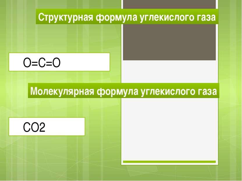 Структурная формула углекислого газа О=С=О Молекулярная формула углекислого г...