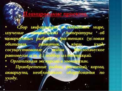 Планирование проекта. Сбор информации о подводном мире, изучение специальной ...