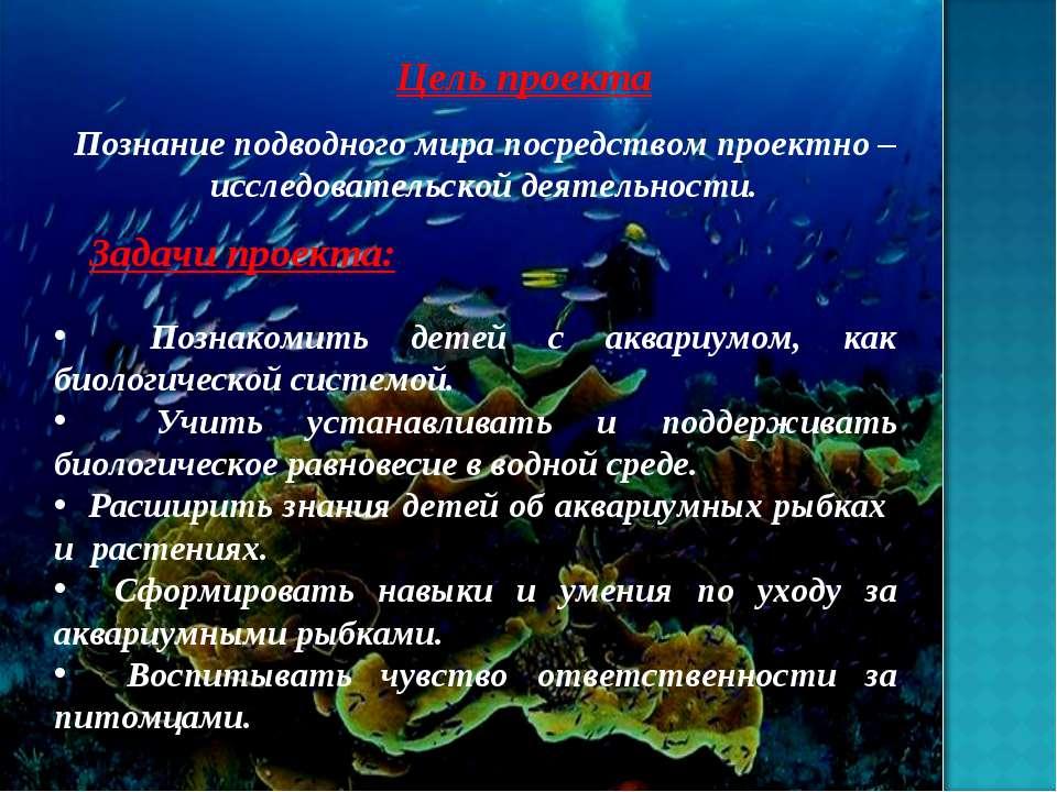 Цель проекта Познание подводного мира посредством проектно – исследовательско...