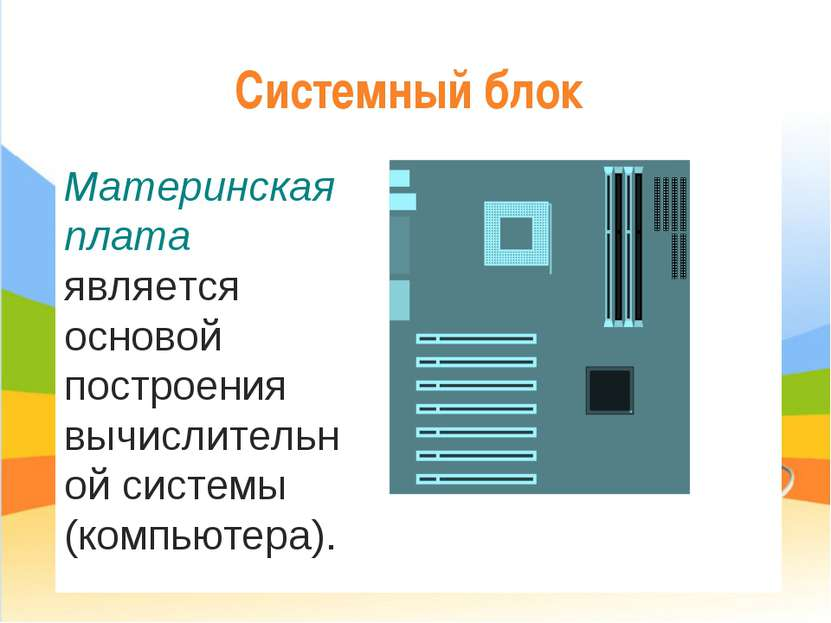 Системный блок Материнская плата является основой построения вычислительной с...
