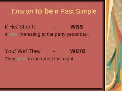 Глагол to be в Past Simple I/ He/ She/ It → was It was interesting at the par...