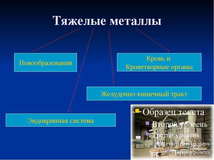 Тяжелые металлы Новообразования Желудочно-кишечный тракт Кровь и Кроветворные...
