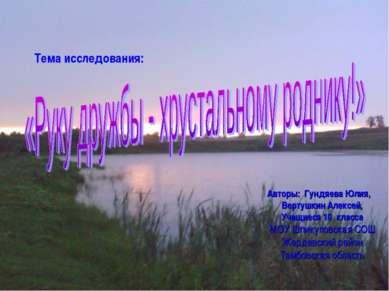 Авторы: Гундяева Юлия, Вертушкин Алексей, Учащиеся 10 класса МОУ Шпикуловская...