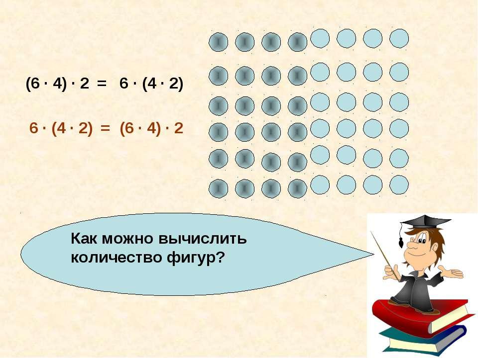 Как можно вычислить количество фигур? (6 · 4) · 2 6 · (4 · 2) = (6 · 4) · 2 6...