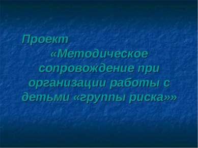 Проект «Методическое сопровождение при организации работы с детьми «группы ри...