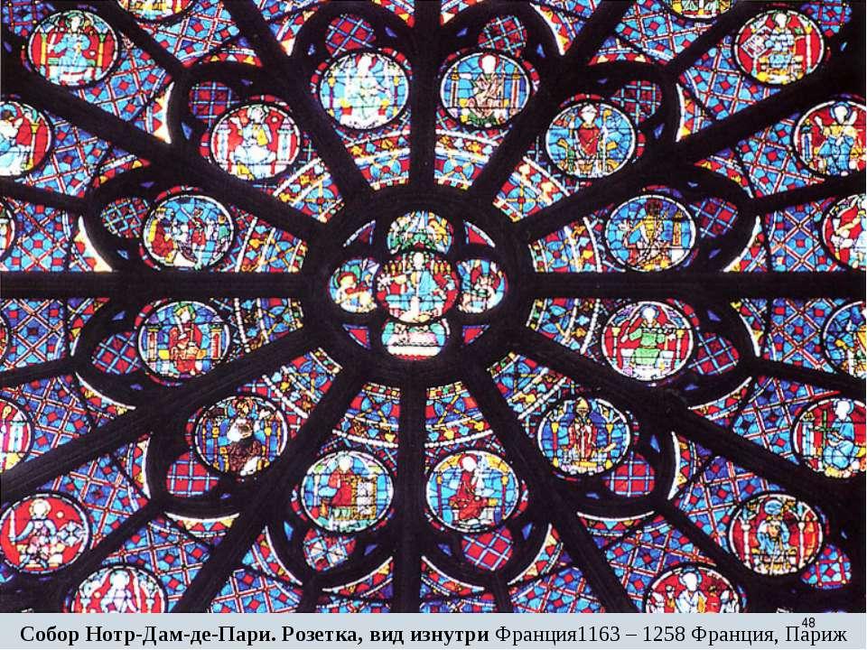 * Собор Нотр-Дам-де-Пари. Розетка, вид изнутри Франция1163 – 1258 Франция, Париж