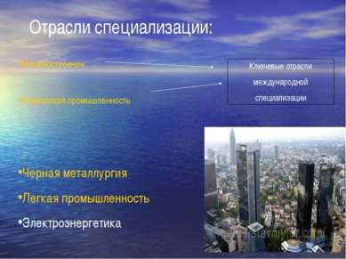 Отрасли специализации: Машиностроение Химическая промышленность Ключевые отра...