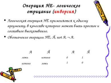 Операция НЕ- логическое отрицание (инверсия) Логическая операция НЕ применяет...