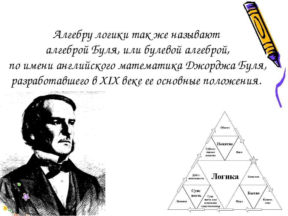Алгебру логики так же называют алгеброй Буля, или булевой алгеброй, по имени ...