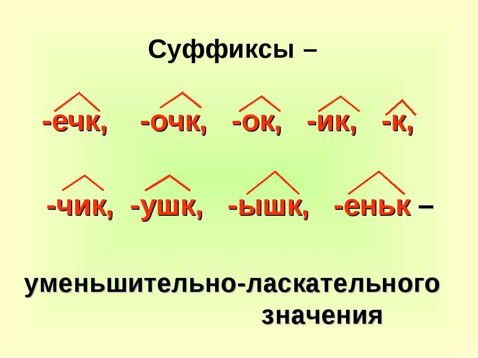 Суффиксы – -ечк, -очк, -ок, -ик, -к, -чик, -ушк, -ышк, -еньк – уменьшительно-...