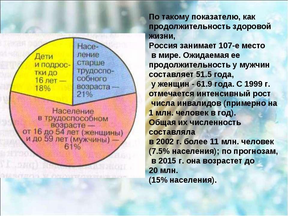 По такому показателю, как продолжительность здоровой жизни, Россия занимает 1...