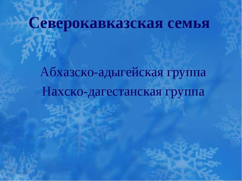 Северокавказская семья Абхазско-адыгейская группа Нахско-дагестанская группа