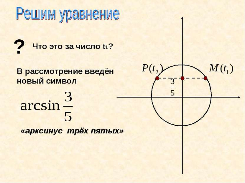 ? Что это за число t1? В рассмотрение введён новый символ «арксинус трёх пятых»