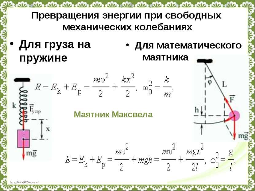 Превращения энергии при свободных механических колебаниях Для груза на пружин...