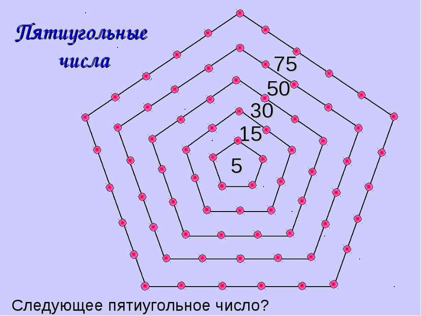 30 50 75 15 Пятиугольные числа 5 Следующее пятиугольное число?