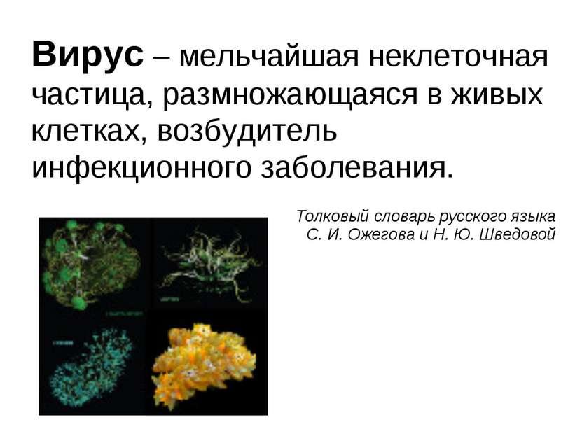 Вирус – мельчайшая неклеточная частица, размножающаяся в живых клетках, возбу...