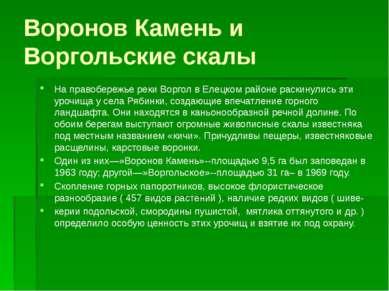 Воронов Камень и Воргольские скалы На правобережье реки Воргол в Елецком райо...