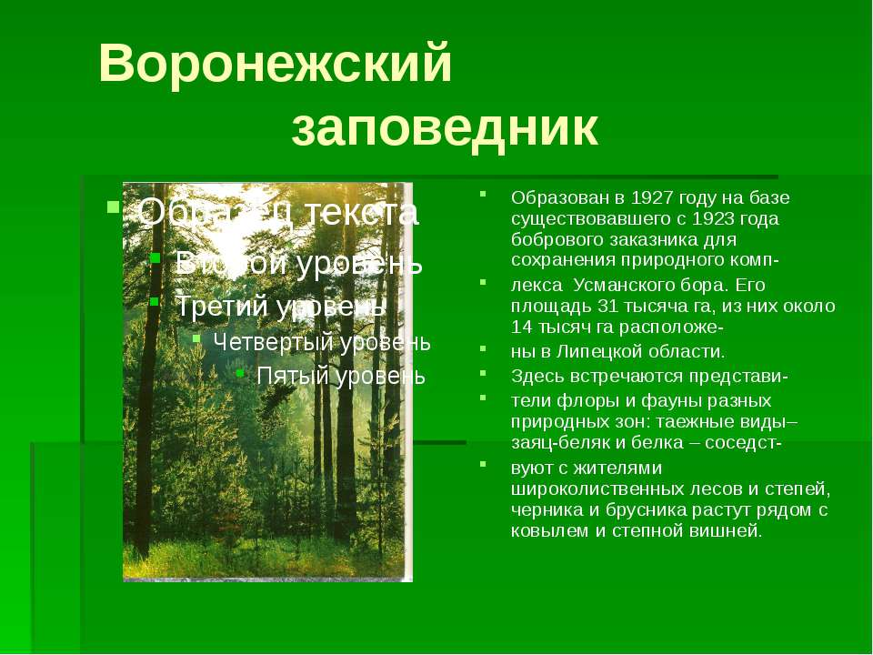 Воронежский заповедник Образован в 1927 году на базе существовавшего с 1923 г...
