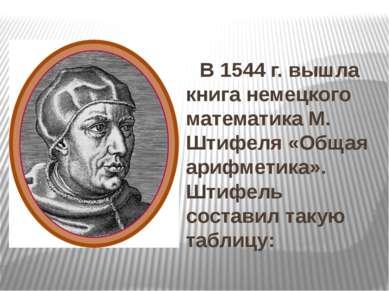 В 1544 г. вышла книга немецкого математика М. Штифеля «Общая арифметика». Шти...