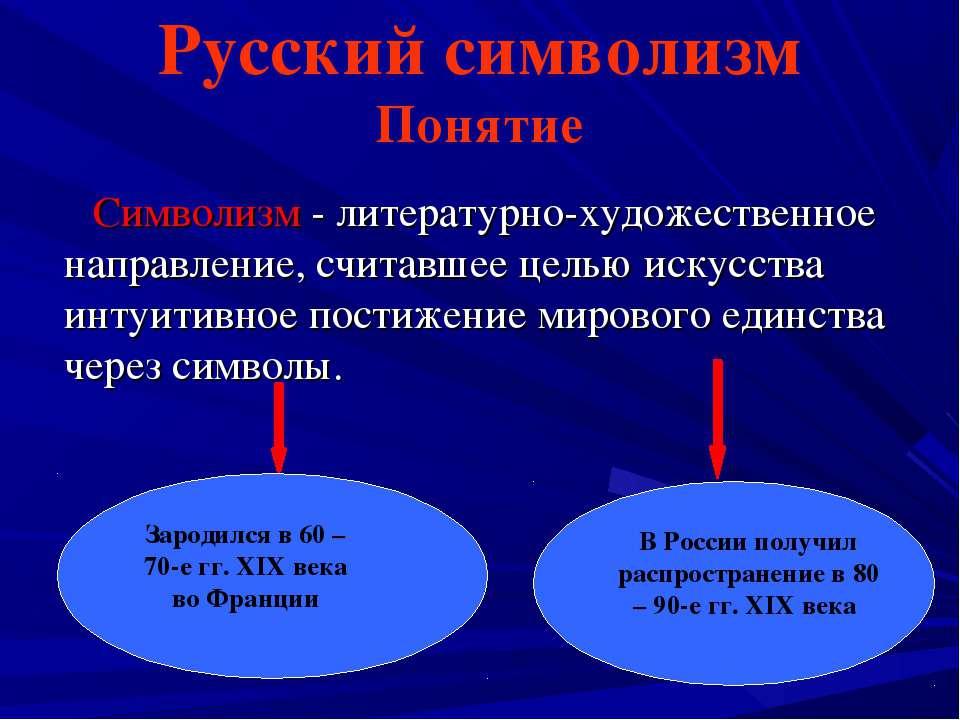 Русский символизм Понятие Символизм - литературно-художественное направление,...