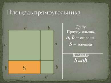 Дано: Прямоугольник, a, b – стороны, S – площадь Доказать: S=ab S b a a a b a...