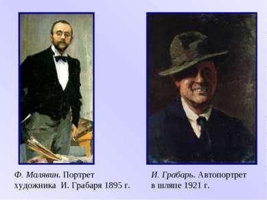 И. Грабарь. Автопортрет в шляпе 1921 г. Ф. Малявин. Портрет художника И. Граб...