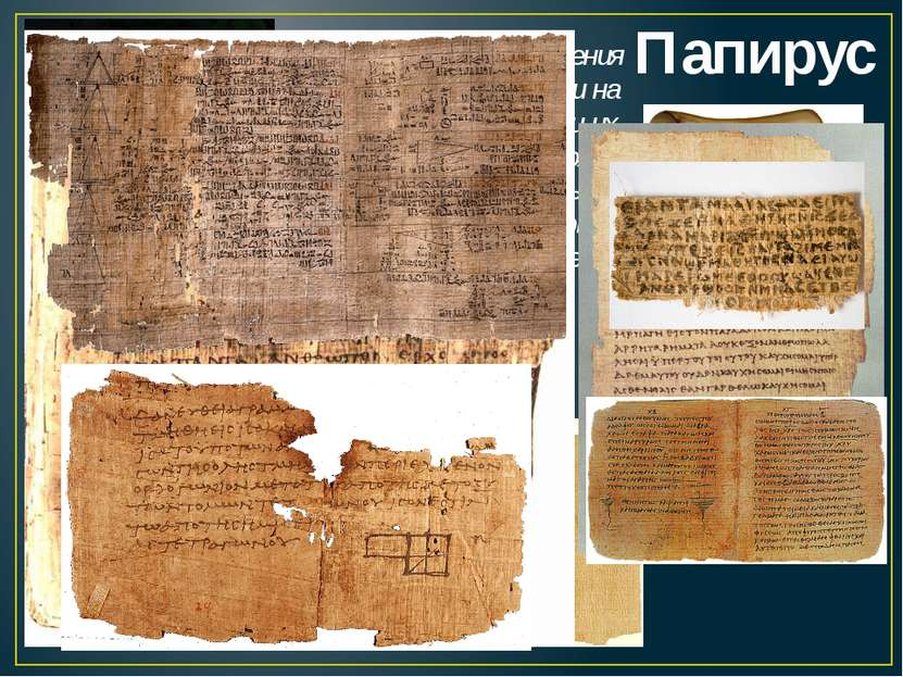 Папирус Делали из стебля растения папируса. Его разрезали на полоски, перекла...