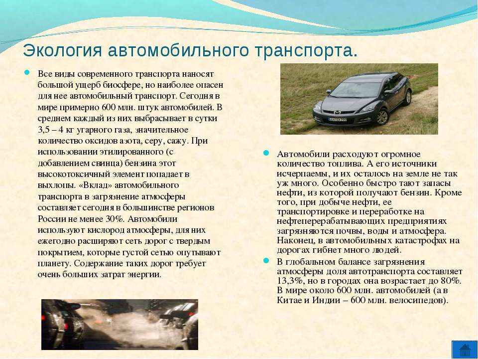 Экология автомобильного транспорта. Все виды современного транспорта наносят ...
